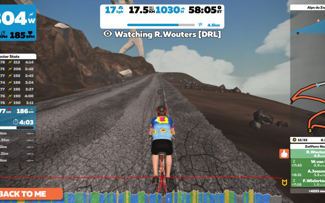 Pieter Roeloffs snelste op Alp du Zwift tijdens Zwiftoer Leiden